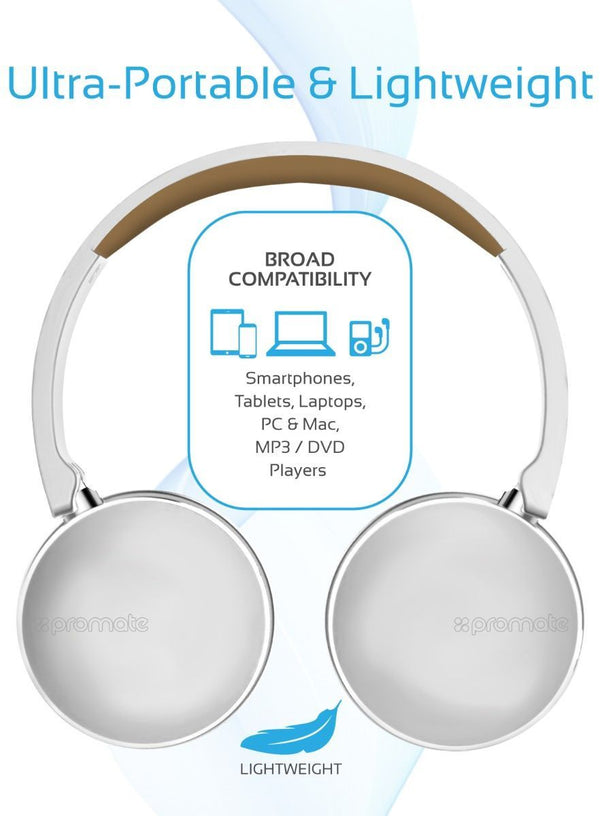 Promate Wireless Headphones. Dynamic Over Ear Bluetooth Stereo Headset, Soft Earmuffs, with Music Control, Built-In Mic, Noise Cancelling and Wired 3.5m Audio for iPhone, Samsung, LG, Waves White