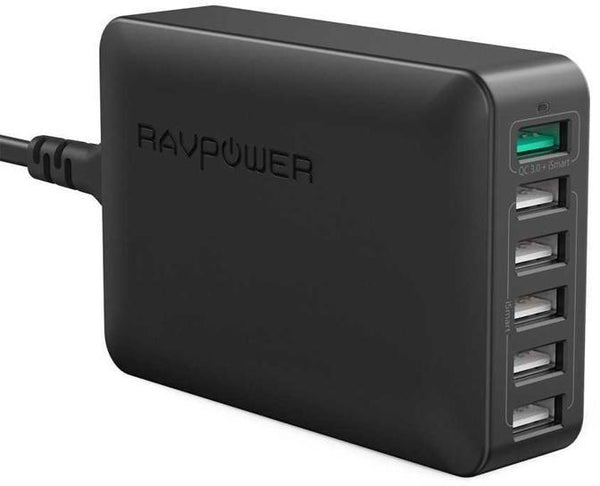 RAVPower Qualcomm QC3.0 6-Port Fast Wall Charger / Charging Station with Power Cord 60W (UK), 6-port design with 60W power, enables you to charge more than one device at the same time, featuring 1x QC 3.0 + iSmart and 5x iSmart ports - Black