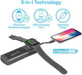 Promate Apple Watch Charger, Apple MFi Certified Pocket Size 6700mAh Travel Wireless Charger