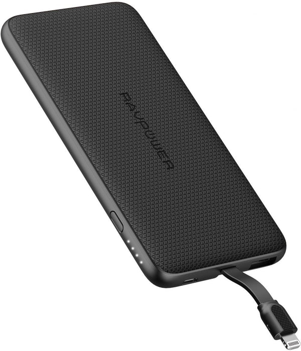 RAVPower Blade Series Slim Portable Power Bank 5000mAh with Built-In Lightning Cable
