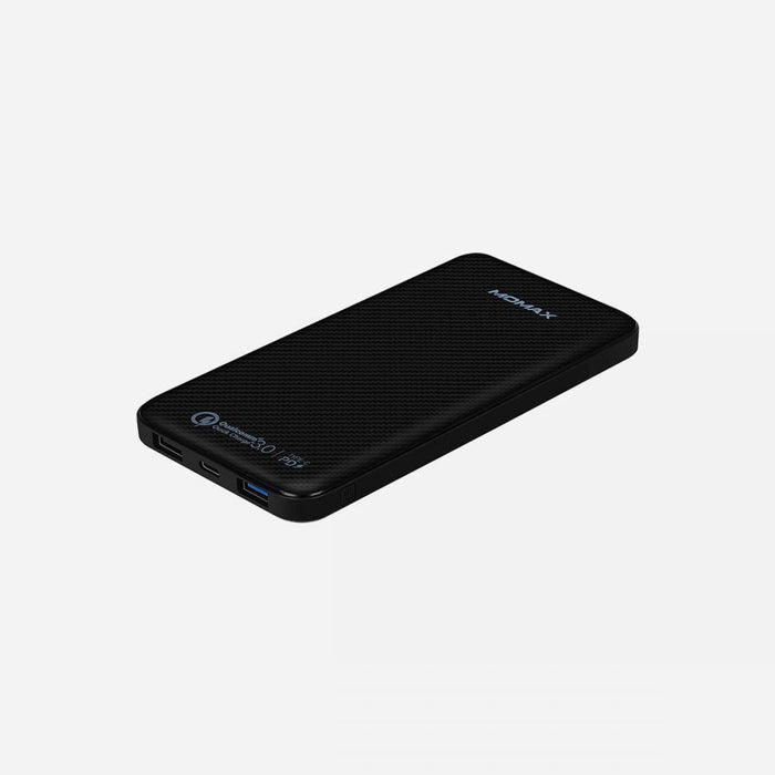 Momax iPower Minimal PD, Qualcomm 3.0 Quick Charge External Battery Pack 10000mAh, Ultra Slim, , Type C Cable Included, Black