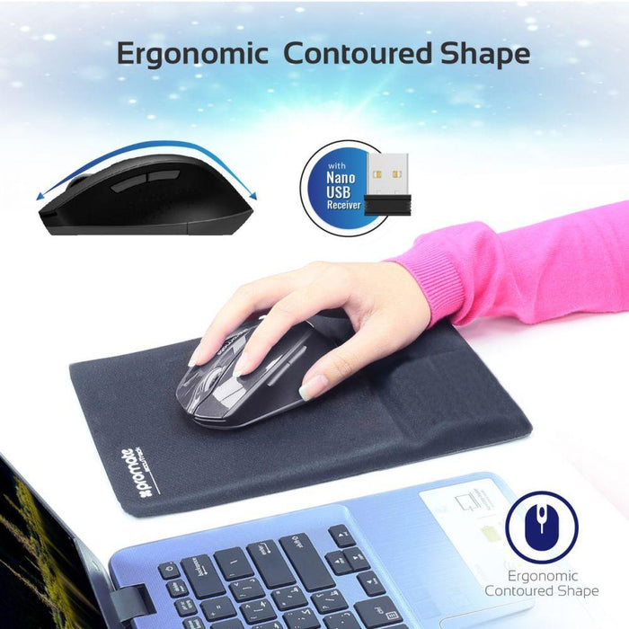 Promate Wireless Mouse, 2.4G Ergonomic Designed Wireless Mice with USB Nano Receiver, 15m Working Distance, Auto Sleep Function and 3 Adjustable DPI for Laptops, PC, Tablets, iMac, Clix-6 Black