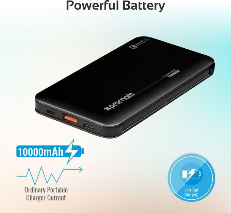 Promate Power Bank, 10000mAh Battery Charger with 18W Type-C Power Delivery, Built-In USB-C and Lightning Cable, QC 3.0 USB and 2 Way Type-C Charging Port for USB and Type-C Devices,Crown-10QC Black