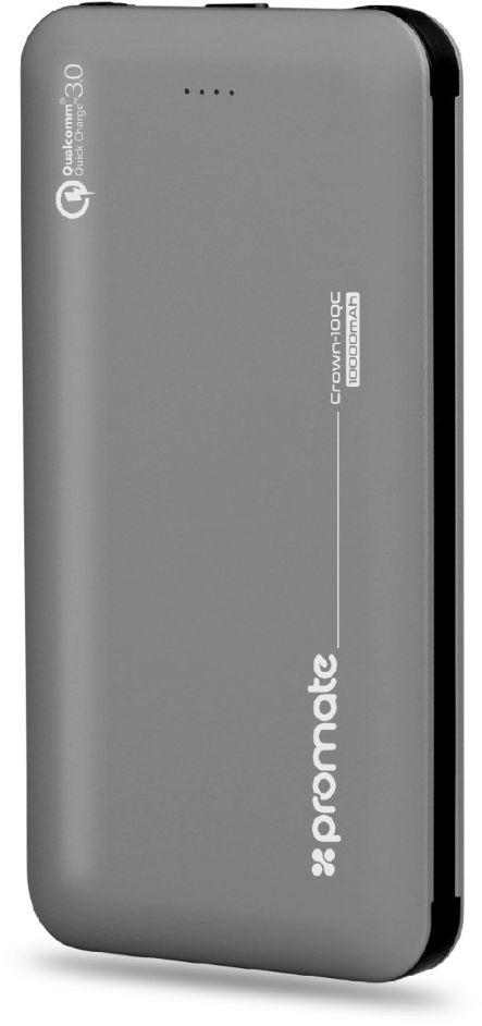 Promate Power Bank, 10000mAh Battery Charger with 18W Type-C Power Delivery, Built-In USB-C and Lightning Cable, QC 3.0 USB and 2 Way Type-C Charging Port for USB and Type-C Devices,Crown-10QC Grey