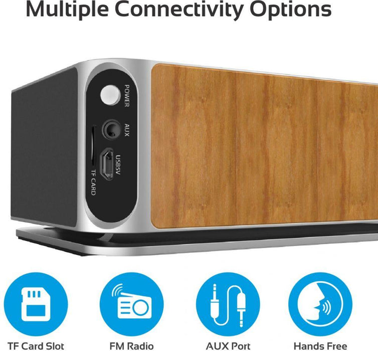 Promate Bluetooth Speaker, Powerful 10W Speaker with Qi Wireless Charging Station, TF Card Slot, AUX, Built-In Mic, LED Alarm Clock, Time Display and FM Radio for Smartphone, iPod, AuraBoom Brown