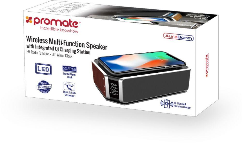 Promate Bluetooth Speaker, Powerful 10W Speaker with Qi Wireless Charging Station, TF Card Slot, AUX, Built-In Mic, LED Alarm Clock, Time Display and FM Radio for Smartphone, iPod, AuraBoom Sepia