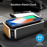 Promate Radio Alarm Clock Speaker, Universal Qi-Certified Wireless Charger