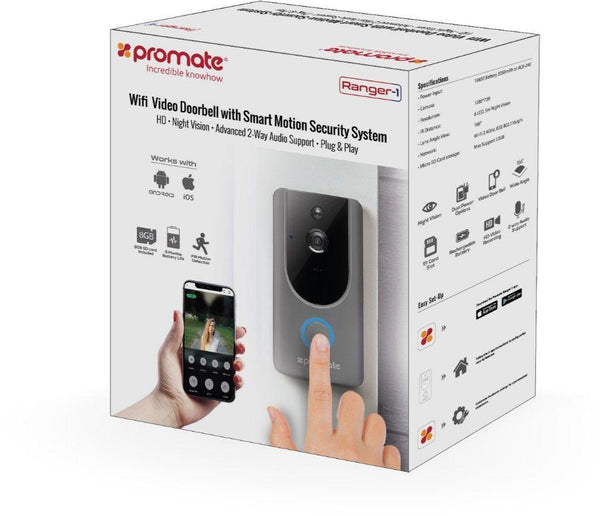 Promate Night Vision Doorbell, Smart Video Doorbell HD Camera Security System with Built-In Wi-Fi, TF Card Slot, Two Way Audio