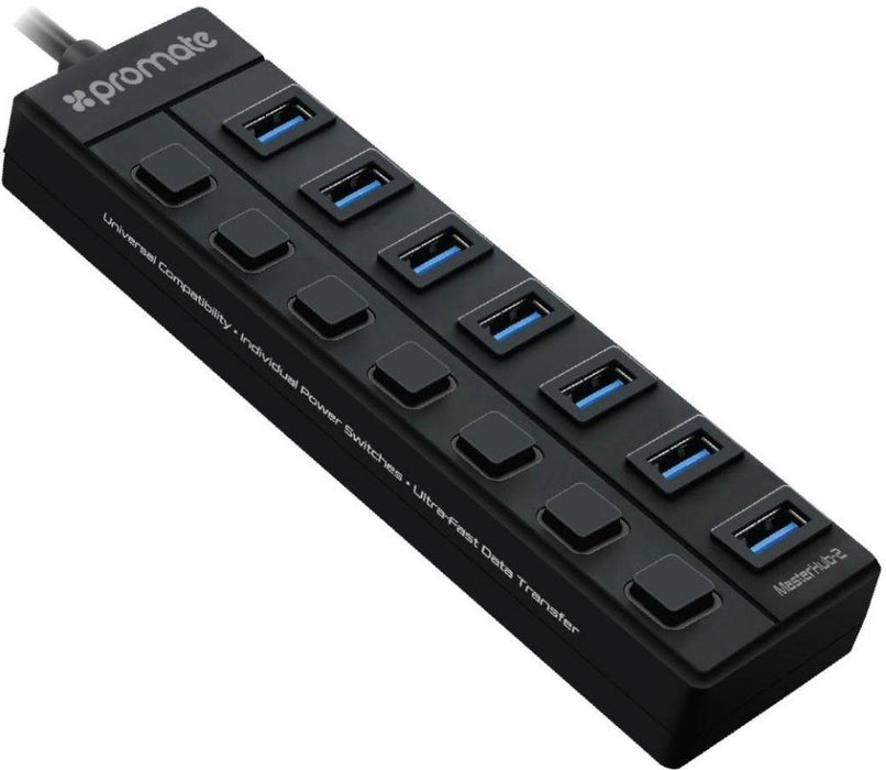 Promate USB Hub Splitter, Portable 7 Port Fast USB 3.0 Data Hub and Charging Port with Power Adapter