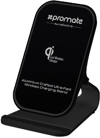 Promate Wireless Charging Kit, 3-In-1 Aluminium 2 Coil Qi Wireless Charger Stand with Type-C Sync Charge Cable, QC 3.0 USB Charger and Anti-Slip Surface for iPhone X,Samsung S9,AuraDock-5 Black