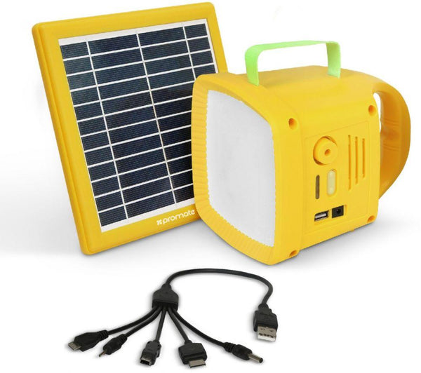 Promate Emergency Outdoor LED Light, Portable Solar Powered Emergency Lightning LED Lamp with 5w Wireless Speaker, Solar Panel, USB Charging Port, Built-In Power Bank and FM Radio, SolarTorch-1