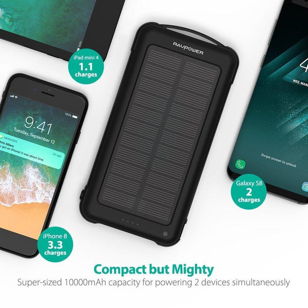 RAVPower Solar Charger 10000mAh Power Bank with LED Flashlight Shockproof Portable Battery Pack with iSmart 2.0 and Dual Input for iPhone XS/XS MAX/XR, Galaxy S9/S8 and More Mobile Phones