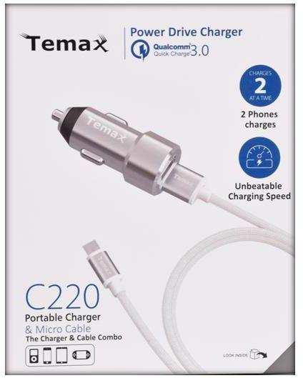 Temax Car Charger with 2 USB ports - Silver