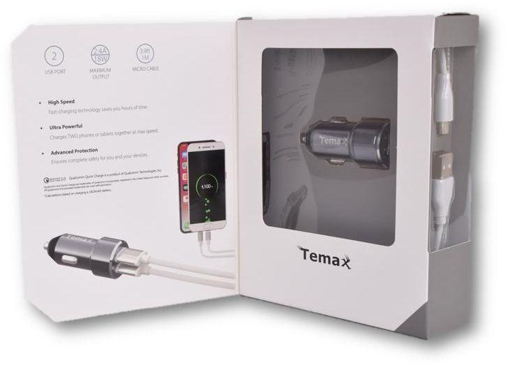Temax Car Charger with 2 USB - Grey