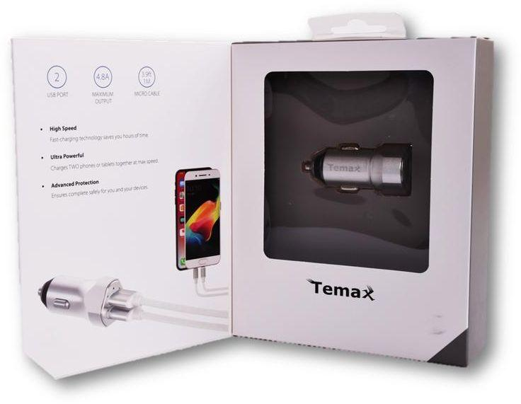 Temax Car Charger with 2 USB ports -Silver
