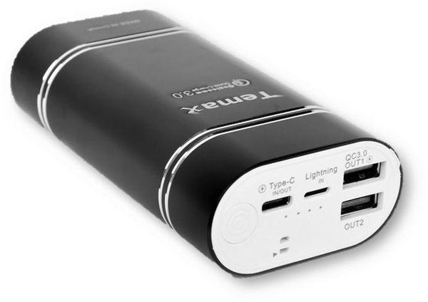 Temax Power Bank 10000 mAh -2 outputs -Black