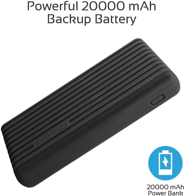 Promate 20000mAh Type-C Power Bank, Portable 3.1A Dual USB Fast Charging External Battery Pack with USB-C Input /Output Port and Over-Charging Protection for iPhone X, Samsung S9+/S8, Titan-20C Black