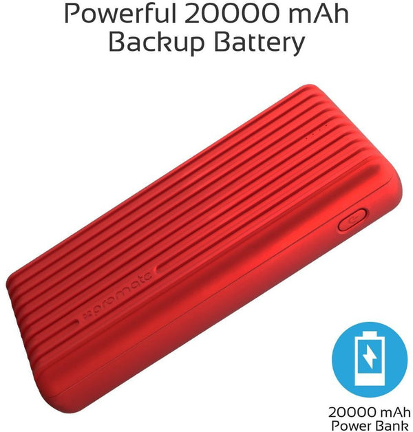 Promate 20000mAh Type-C Power Bank, Portable 3.1A Dual USB Fast Charging External Battery Pack with USB-C Input /Output Port and Over-Charging Protection for iPhone X, Samsung S9+/S8, Titan-20C Red