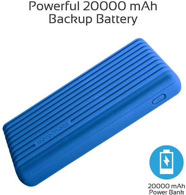 Promate 20000mAh Type-C Power Bank, Portable 3.1A Dual USB Fast Charging External Battery Pack with USB-C Input /Output Port and Over-Charging Protection for iPhone X, Samsung S9+/S8, Titan-20C Blue