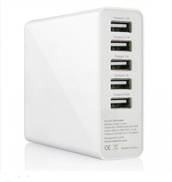 Naztech 12391 - PB10400 Portable Charger For Mobilephones- White