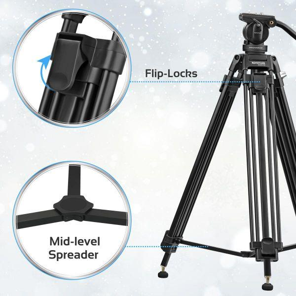 Promate Video Tripod, Professional Heavy-Duty Video Camcorder Tripod with Mid-Level Spreader