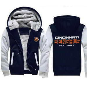 Cincinnati Bengals Winter Warm Cashmere Thickened Zipper Hoodie Plus Size