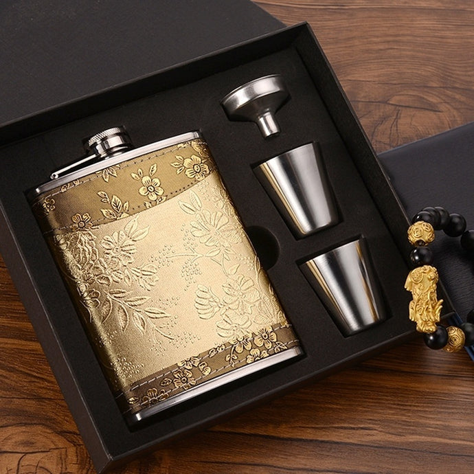 8oz Hip Luxury Stainless Steel Flask Flagon Whiskey Wine Pot Bottle Gift New Pattern