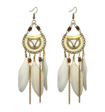 Load image into Gallery viewer, Vintage Ethnic Bohemia Feather Drop Earrings Women Drop Dangle Long Rope Fringe Long Tassel Earrings Retro Hoop Alloy Earrings!
