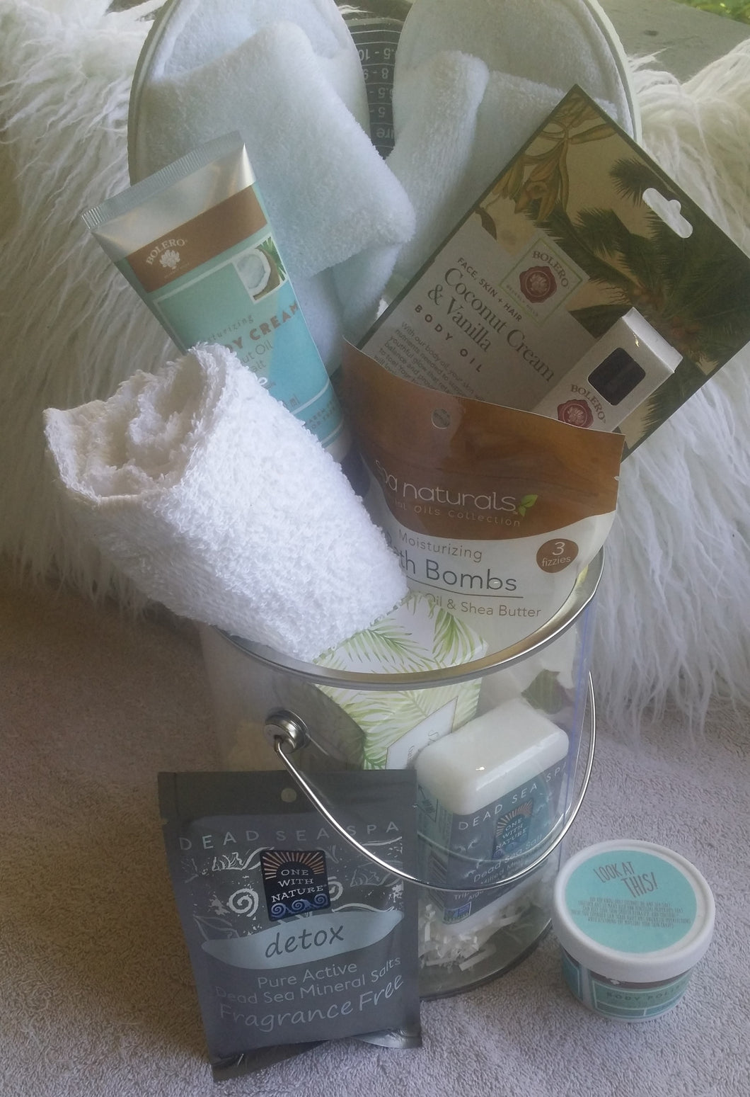 Spa-licious, Sea Salt Detox Pail Gift Basket