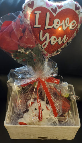 Valentine's Fluff Bear and Rose Gift Basket