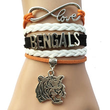 Load image into Gallery viewer, Cincinnati Bengals Bracelet- Custom Sports Football NFL Team Leather Friendship Bracelet Bangles