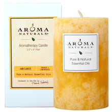 Load image into Gallery viewer, Aroma Naturals Essential Oil Orange and Lemongrass Scented Pillar Candle, Ambiance, 2.5 inch x 4 inch