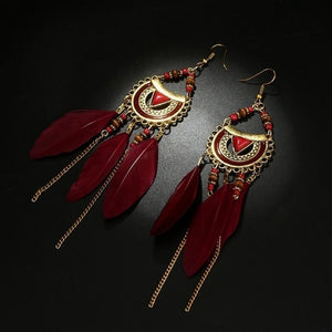Vintage Ethnic Bohemia Feather Drop Earrings Women Drop Dangle Long Rope Fringe Long Tassel Earrings Retro Hoop Alloy Earrings!