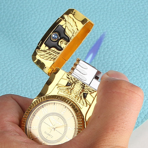 Creative Metal Inflatable Lighter No Gas Straight-punch Watch Cigarette Lighter Refillable Butane