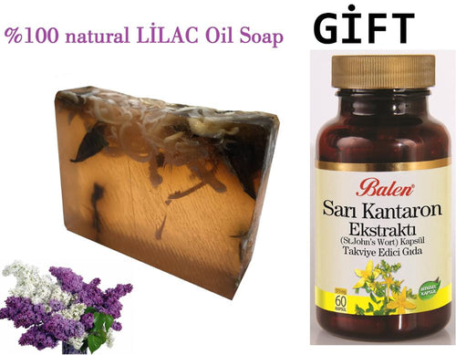 HANDMADE LILAC essential oil 100gr Soap+Gift Food Supplement Health and Beauty Herbal st john's wort 60 Capsules