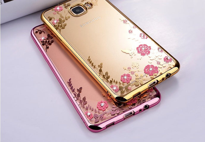 Luxury FLORAL GLITTER Bling Rhinestone PHONE CASE for Samsung Galaxy A8 2016 SM A810 A810F Soft Silicone Back Case Cover Capa Fundas