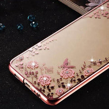 Load image into Gallery viewer, Luxury FLORAL GLITTER Bling Rhinestone PHONE CASE for Samsung Galaxy A8 2016 SM A810 A810F Soft Silicone Back Case Cover Capa Fundas