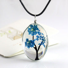 Load image into Gallery viewer, Retro Jewelry Real Dried Flower Necklace Tree of Life Shaped Leather Rope Glass Long Pendant Necklace