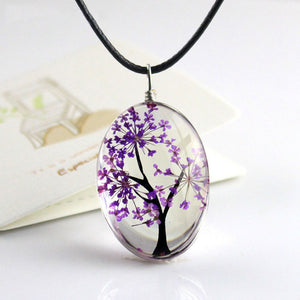 Retro Jewelry Real Dried Flower Necklace Tree of Life Shaped Leather Rope Glass Long Pendant Necklace