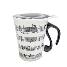 Load image into Gallery viewer, Creative MUSIC TEA CUP, Piano Key Board Shape Handle Ceramics Mug with Lid