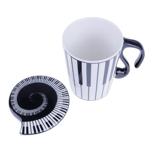 piano keyboard design coffee cup