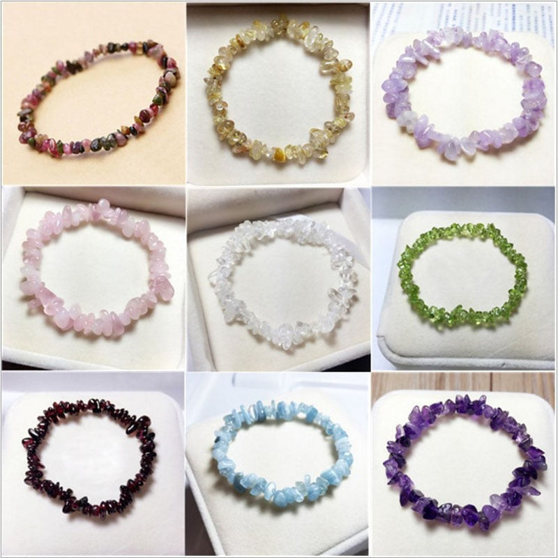 Natural quartz crystals tumbled stones Natural Healing stones bracelet!