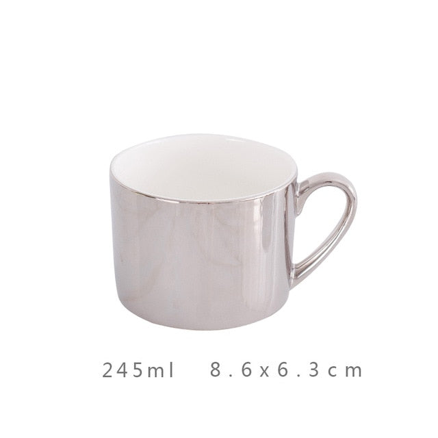 GOLD Coffee Cup, gold plated silver cup Bone China Tea Cups Gold Plated Mirror Effects