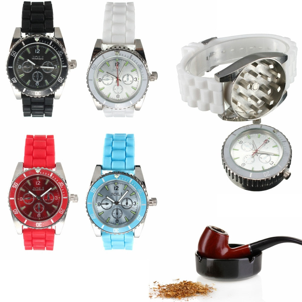 HERB & TOBACCO WATCH, Smoking Pipe Hand Crusher Sharp Teeth Magnetic Watch