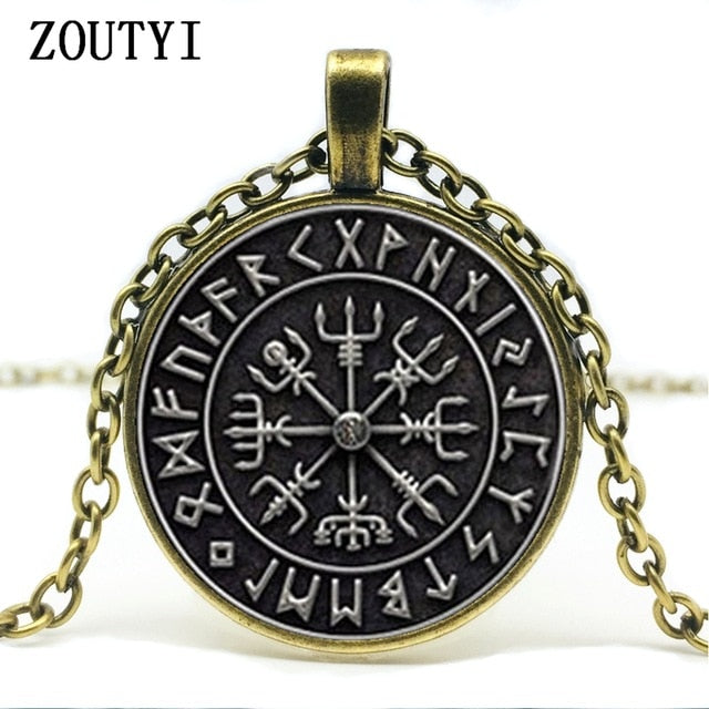 Vegvisir Viking Compass pendant jewelry glass cabochon necklace