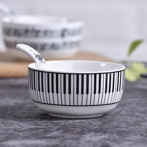 Creative MUSIC TEA CUP, Piano Key Board Shape Handle Ceramics Mug with Lid