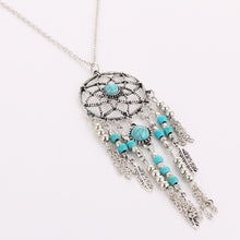 Load image into Gallery viewer, DREAM CATCHER NECKLACE, Catch the dream net necklace,  tassel feathers  Bohemian jewelry