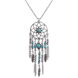 DREAM CATCHER NECKLACE, Catch the dream net necklace,  tassel feathers  Bohemian jewelry