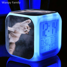 Load image into Gallery viewer, Cute Pet Cat Kitten Alarm Clock 7 Color LED Glowing Digital Alarm