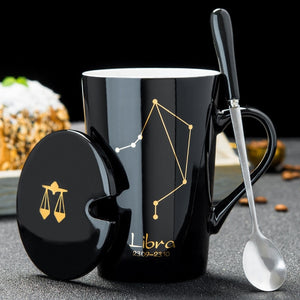 12 Constellations Creative Ceramic Mugs with Spoon Lid Black and Gold Porcelain Zodiac Milk Coffee Cup 420ML Water Drinkware